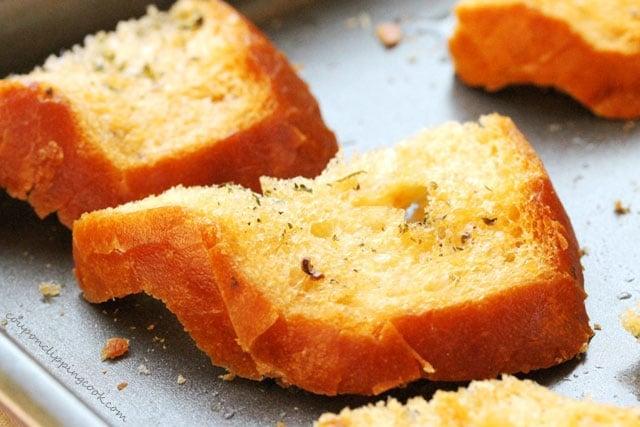 Baked Garlic Toast on Pan