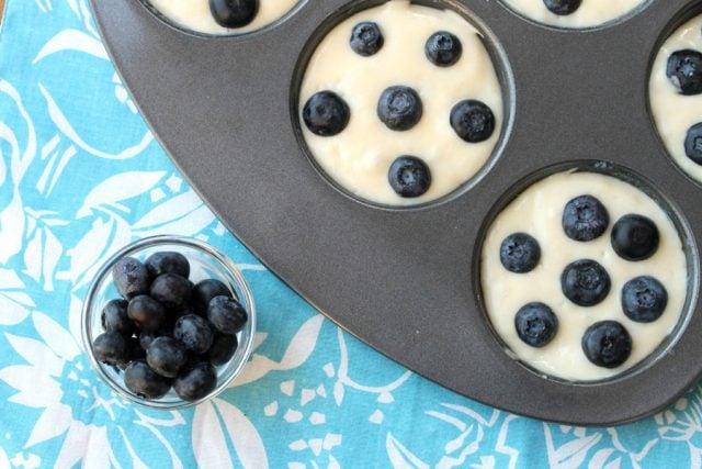 Blueberries in Pancake Batter in pan