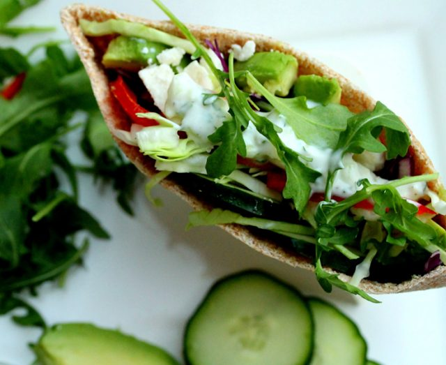 Vegetable Pita and Tzatziki Sauce