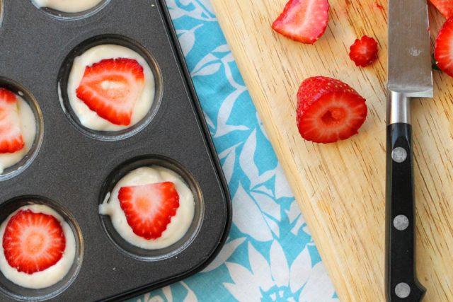 Strawberry Pancake Muffins in pan