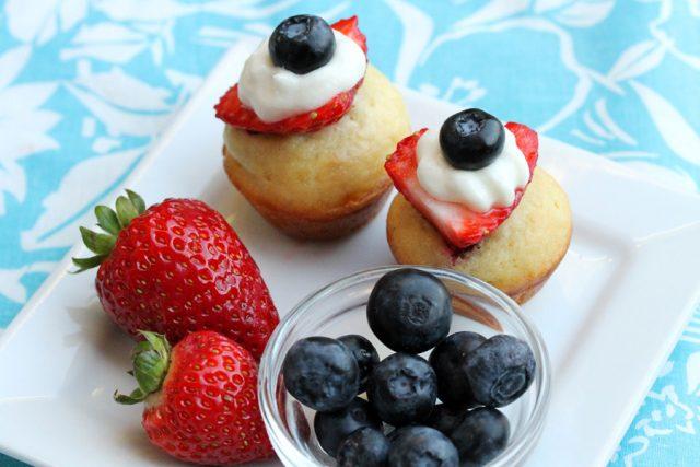 Pancake Strawberry Muffins on plate