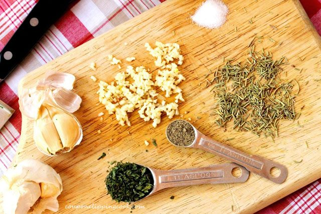 Diced Garlic Parsley on Cutting Board