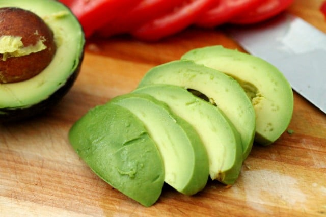 Sliced Avocado on Cutting Board