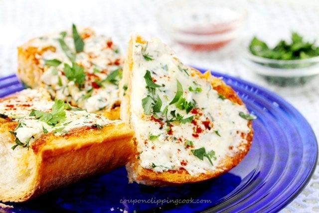 Cream cheese garlic bread on plate