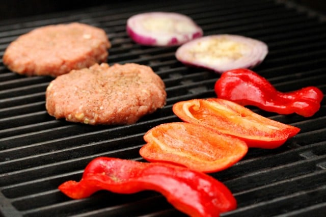 Vegetables and Meat on Grill