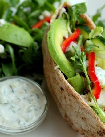 Avocado, Feta and Salad Pita Sandwich with Tzatziki Sauce