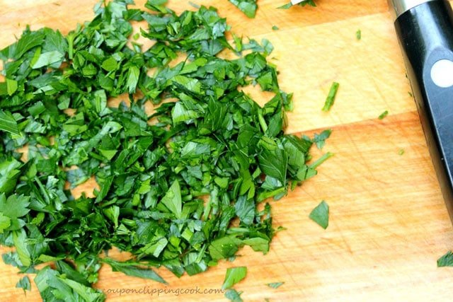 Chopped Parsley on Board