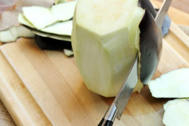 Peel Eggplant with knife