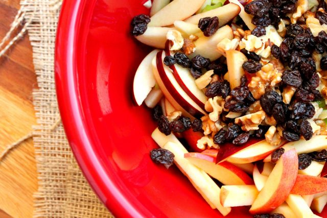 Raisins in Apple Salad in bowl