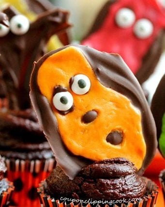 Chocolate Cupcakes with Tootsie Roll Goblins