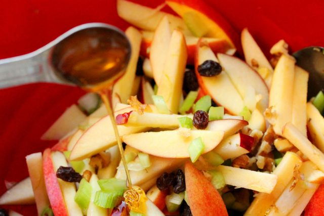 Honey in Apple Salad in bowl