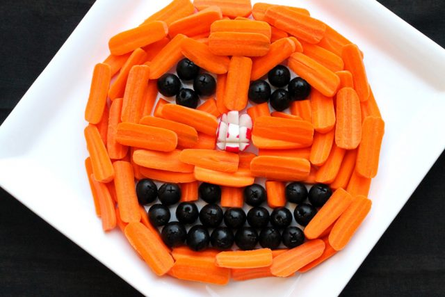 Pumpkin Head Relish Tray on plate