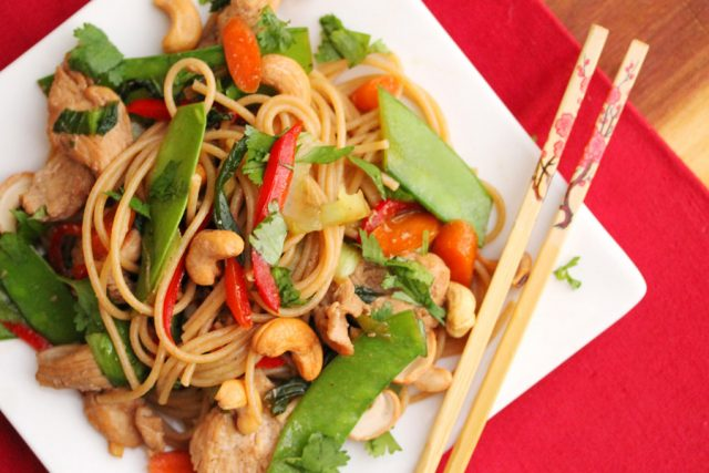 Stir Fry with Chicken on plate