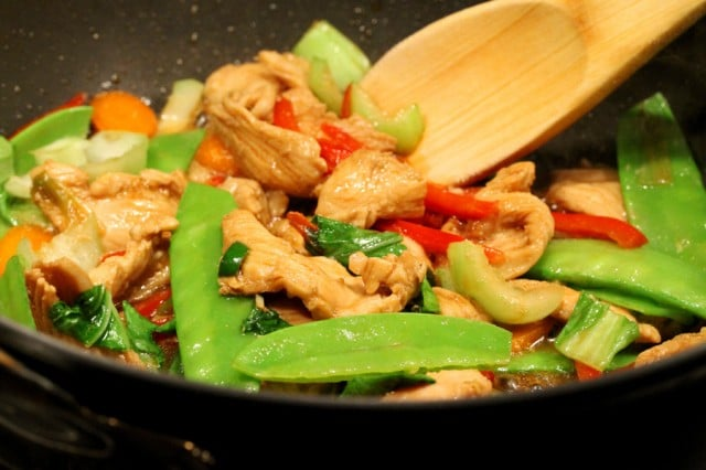 Stir Fry Chicken in Pan
