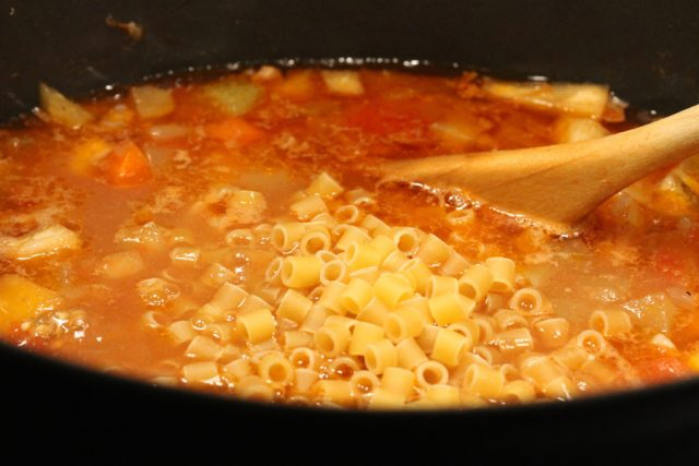 Add Macaroni in Eggplant Soup
