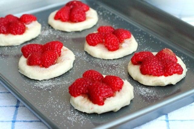 Raspberries on Biscuit Dough