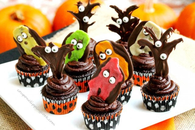 Halloween Goblin Chocolate Cupcakes