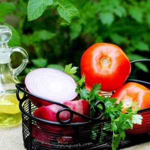Ingredients for Onion and Tomato Salad