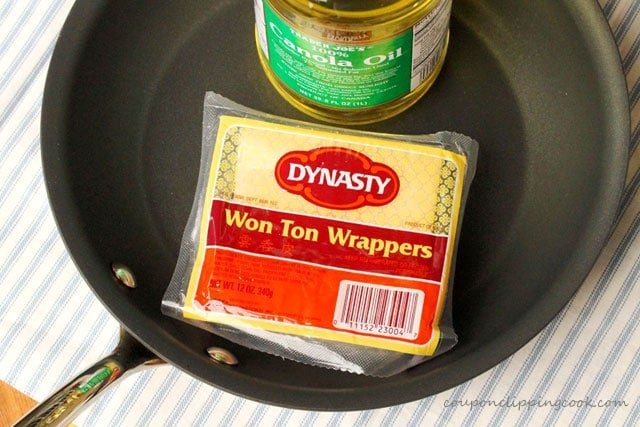 Cooking oil, won ton wrappers in pan
