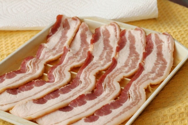 Raw Bacon on Pan