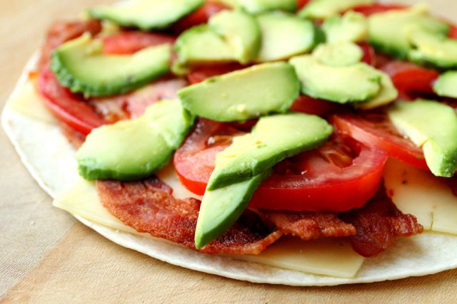 Avocado and Tomatoes on tortilla