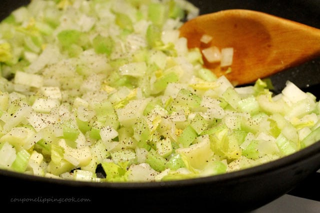 Onion and celery in pan