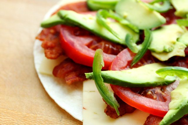 Jalapeno and Tomatoes on tortilla