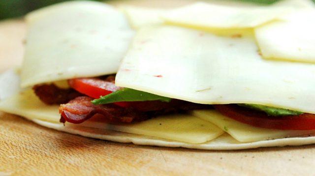 Sliced Cheese on Quesadilla