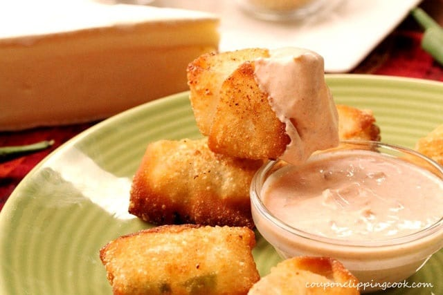 Wonton Cheese Bites with Dipping Sauce on plate