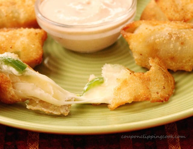 Won Ton Cheese Bites with Dipping Sauce on plate