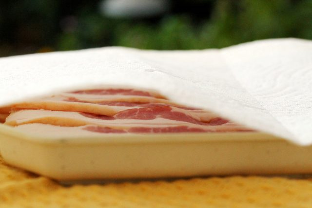 Raw Bacon in Pan