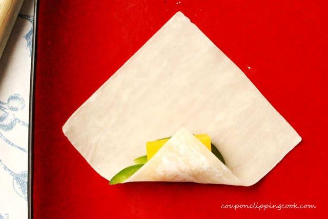 Fold won ton wrapper on plate