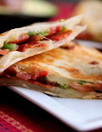 Bacon, Avocado and Tomato Quesadillas