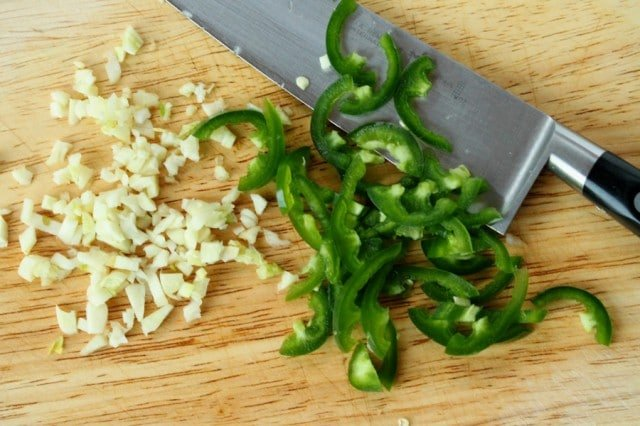 Cut Jalapeno and Garlic