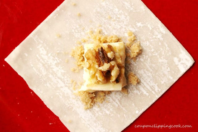 Cheese and walnuts on won ton wrapper