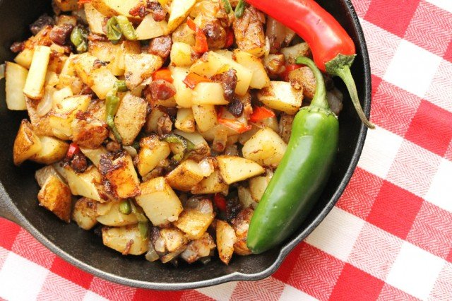 Fried Potatoes in Skillet