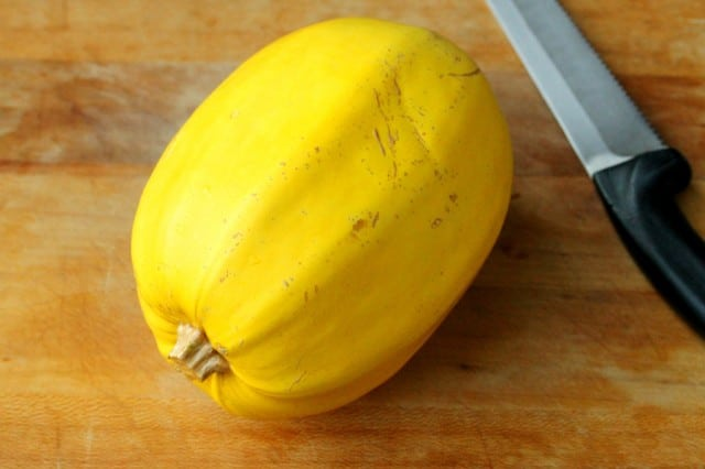 Spaghetti Squash on Cutting Board