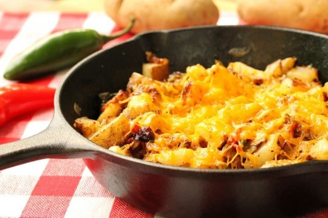 Cheesy Jalapeno Skillet Potatoes