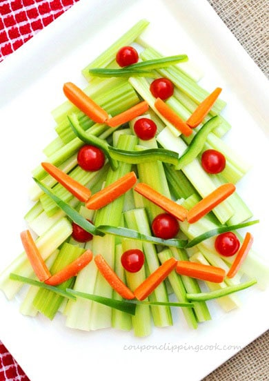 Vegetables in the shape of Christmas Tree