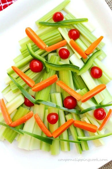 Vegetables in shape of Christmas Tree