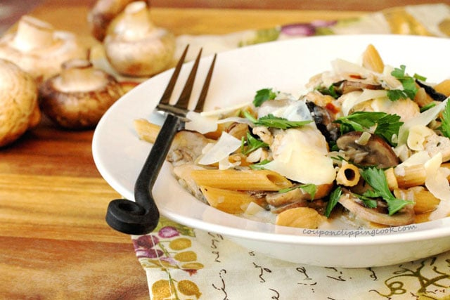 Mushrooms and Pasta in bowl