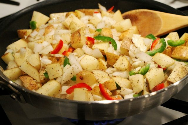 Fry Potatoes and Onion in Pan