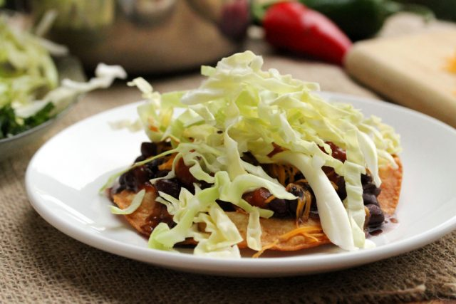 Cabbage on Tostada on plate