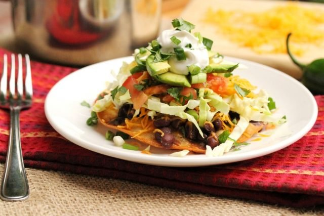 Black Bean Tostada on plate