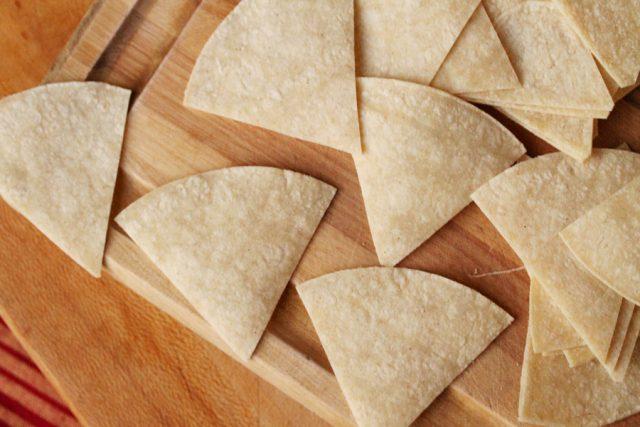 Cut Tortillas on Cutting Board