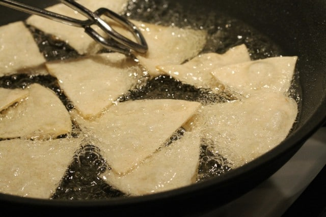 Frying Tortilla Chips in Pan