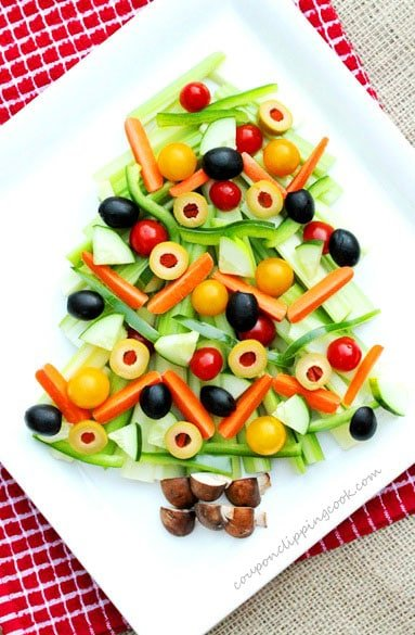 Christmas Tree Relish Tray with Vegetables on platter