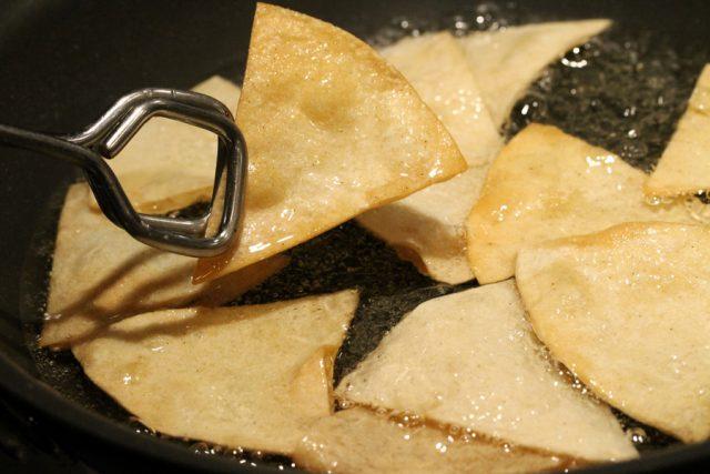 Fried Tortilla Chips in Skillet
