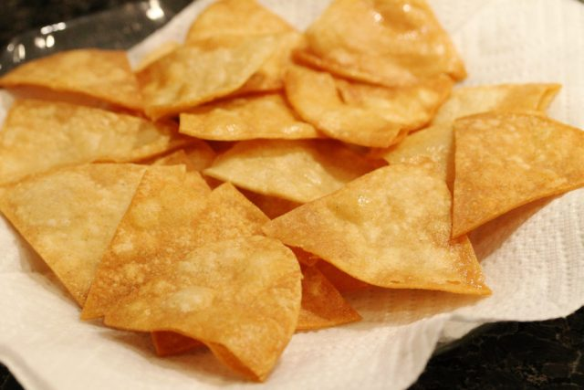 Tortilla Chips on Paper Towels
