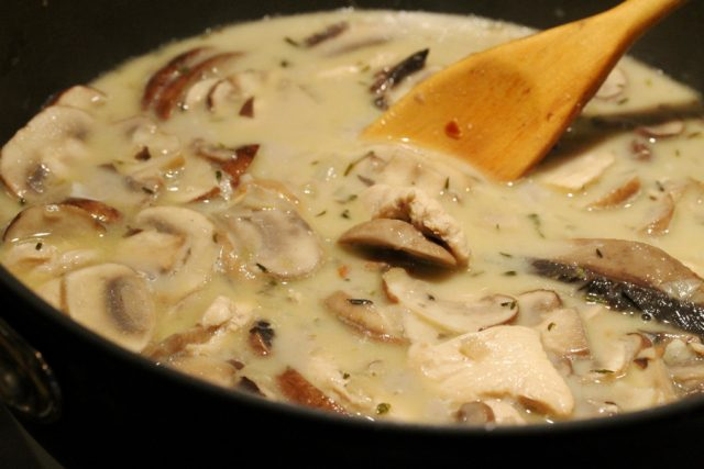Mushrooms in Cream Sauce in pan